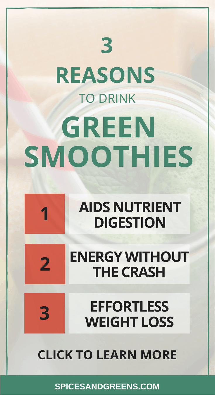 3 Reasons to Drink Green Smoothies with benefits including weight loss, more energy and improved digestion.