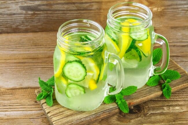 cucumber lemon mint detox water - how to make