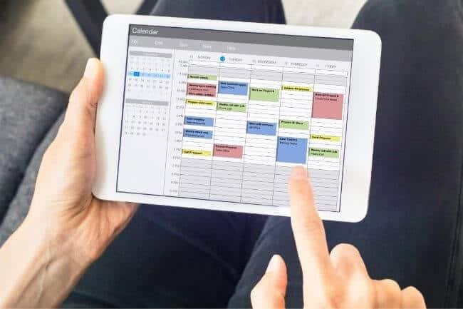check calendar to meal plan
